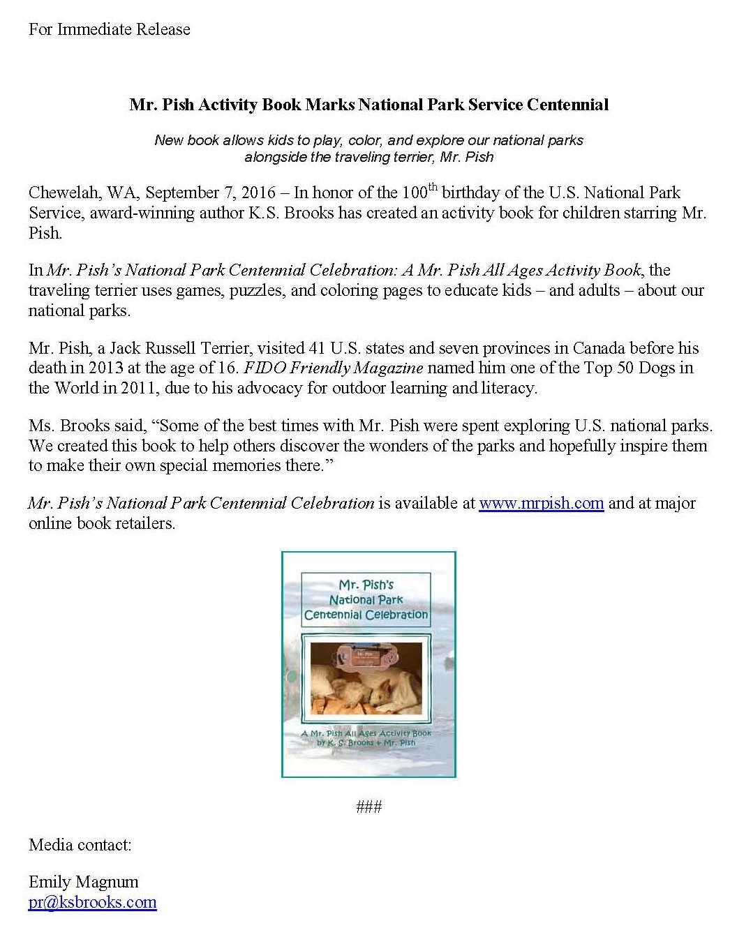 national park centennial press release
